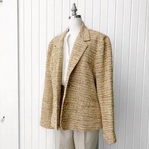 Vintage 1970s Tan Boucle Tweed Blazer Jacket